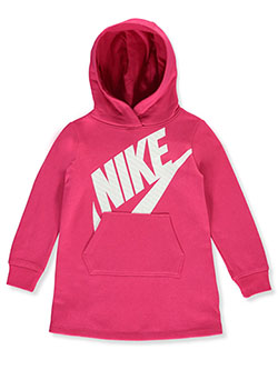 Girls' Hooded Fleece Dress by Nike in Racer print