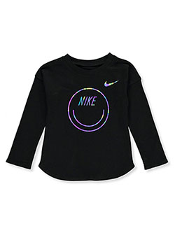 Baby Girls' L/S Graphic Top by Nike in Black