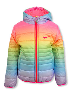Girls' Insulated Hooded Jacket by Nike in Rainbow
