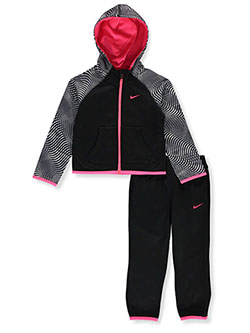 Girls' 2-Piece Sweatsuit Outfit by Nike in Black