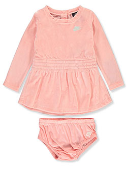 Baby Girls' Velour Dress with Diaper Cover by Nike in Bleached coral