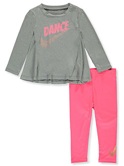 Baby Girls' 2-Piece Leggings Set Outfit by Nike in Racer pink