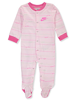 Baby Girls' Footed Coverall by Nike in Pink foam, Infants
