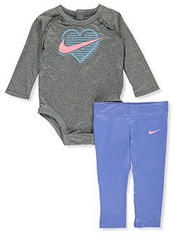 Baby Girls' 2-Piece Leggings Set Outfit by Nike in Royal pulse