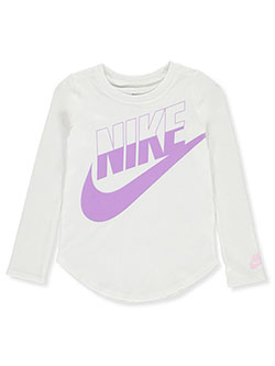 Girls' L/S Top by Nike in White, Sizes 4-6X