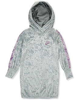 Girls' Velour Hoodie Dress by Nike in Pure platinum