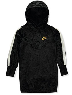 Girls' Velour Hoodie Dress by Nike in Black, Sizes 4-6X