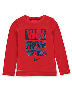 Boys' Dri-Fit L/S T-Shirt by Nike in University red