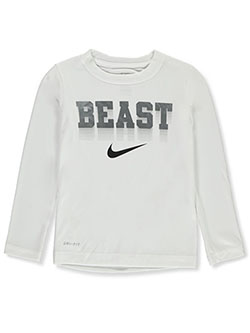 Boys' Dri-Fit L/S T-Shirt by Nike in White