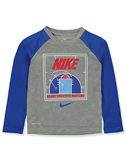 Boys' Dri-Fit L/S T-Shirt by Nike in Gray
