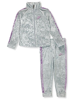 Girls' Velour 2-Piece Tracksuit Outfit by Nike in Multi