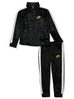 Girls' Velour 2-Piece Tracksuit Outfit by Nike in Black