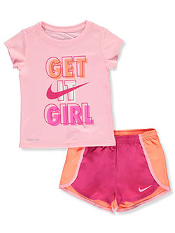 Girls' Dri-Fit 2-Piece Shorts Set Outfit by Nike in Multi, Girls Fashion