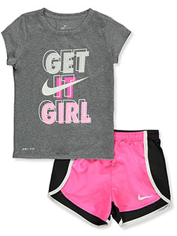 Girls' Dri-Fit 2-Piece Shorts Set Outfit by Nike in Hyper pink, Girls Fashion