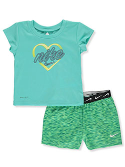Baby Girls' Dri-Fit 2-Piece Shorts Set Outfit by Nike in Aqua - $32.00