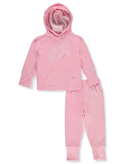 Baby Girls' Dri-Fit 2-Piece Tracksuit Outfit by Nike in Pink - Active Sets