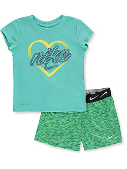 Girls 2-Piece Dri-Fit Shorts Set Outfit by Nike in Aqua