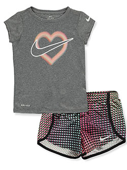 Girls' 2-Piece Shorts Set Outfit by Nike in Black, Girls Fashion
