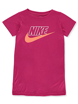Girls' Swoosh T-Shirt Dress by Nike in Fuchsia