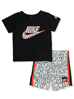 Just Do It 2-Piece Shorts Set Outfit by Nike in White, Infants