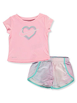 Dri-Fit Baby Girls' 2-Piece Shorts Set Outfit by Nike in Pink
