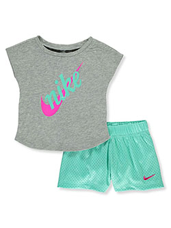 Glitter Logo 2-Piece Shorts Set Outfit by Nike in Gray multi, Infants