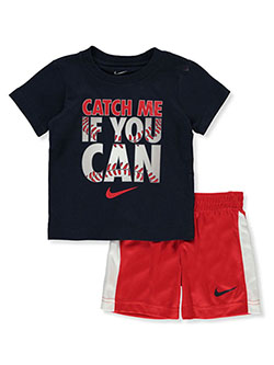 Boys' 2-Piece Shorts Set Outfit by Nike in University red, Boys Fashion