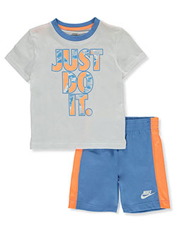 Boys' 2-Piece Shorts Set Outfit by Nike in White/multi, Boys Fashion