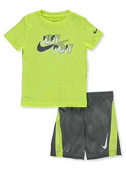 Baby Boys' 2-Piece Dri-Fit Shorts Set Outfit by Nike in Gray, Boys Fashion