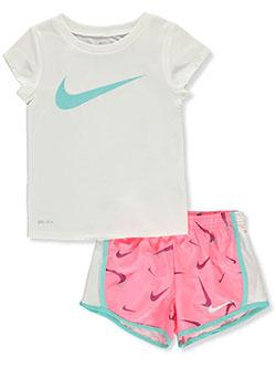 Dri-Fit Girls' 2-Piece Shorts Set Outfit by Nike in White/multi