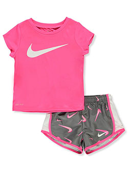 Dri-Fit Girls' 2-Piece Shorts Set Outfit by Nike in Gray