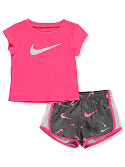 Dri-Fit Baby Girls' 2-Piece Shorts Set Outfit by Nike in Gray