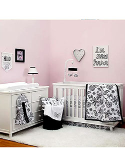 Floral Butterfly 8-Piece Crib Set by Nojo in Black multi