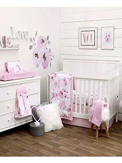 Complete Floral Watercolor 4-Piece Crib Set by Nojo in Multi