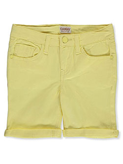Girls' Bermuda Twill Shorts in lemon, pink and white