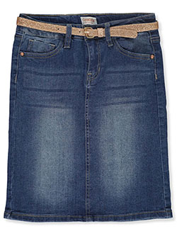 Girls' Belted Denim Pencil Skirt in cloud wash and heritage