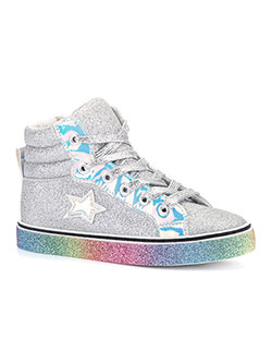 Glitter Iridescent Hi-Top Sneakers by Olivia Miller in Silver - Sneakers