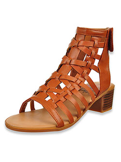 Girls' Gladiator Block Heel Sandals by Olivia Miller in cognac and rose gold - Sandals