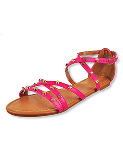 Women's Studded Cross Strap Sandals by Olivia Miller in fuchsia and white