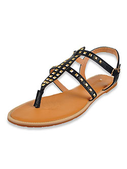 Women's Studded T-Strap Sandals by Olivia Miller in black, cognac and white