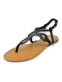 Women's Bejeweled Strappy Sandals by Olivia Miller in Black