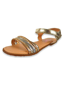 Metallic Double Strap Flat Sandals by Olivia Miller in Multi