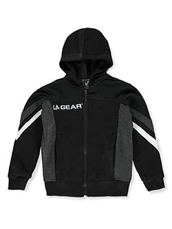 Boys' Panel Zip Hoodie by LA Gear in black and burgundy
