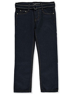 Boys' Line Embroidered Belted Jeans by Loose Thread in Dark wash - Jeans