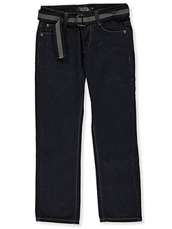 Boys' V Embroidered Belted Jeans by Loose Thread in Blue - Jeans