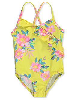 Angled Tropical Flounce 1-Piece Swimsuit by OshKosh in Yellow multi
