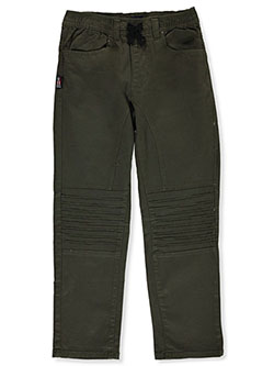 Phat Farn Boys' Drawstring Twill Joggers by Phat Farm in Dark olive