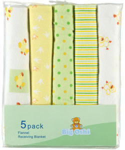 """Quack"" 5-Pack Receiving Blankets by Big Oshi in Yellow"
