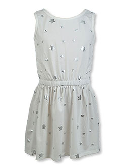 Girls' Sleeveless Star Dress by Poof Girl in ivory and rose - $7.99