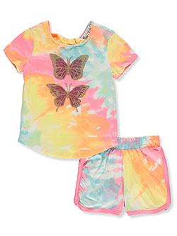 2-Piece Butterfly Short Set Outfit by Poof Girl in Yellow/multi